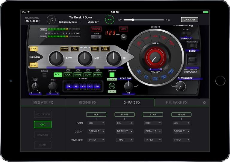 RMX-1000 for iPad: effects screen.