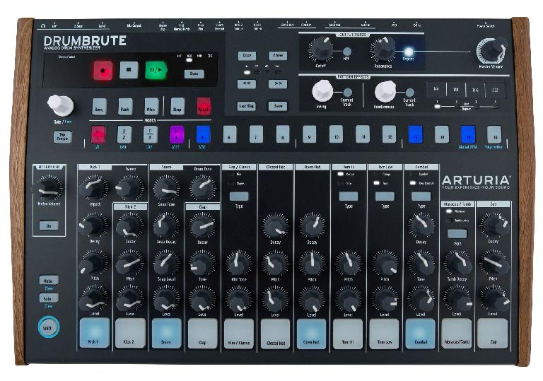 Arturia DrumBrute contains 17 fully analog drum & percussion instruments.