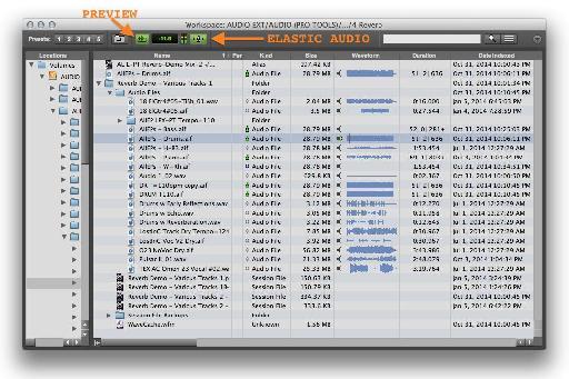 Fig 1 Pro Tools' Workspace Window.