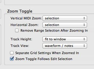 Preferences settings for Zoom Toggle.