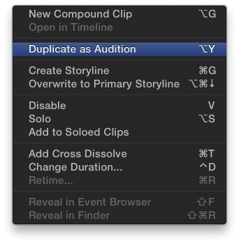 Duplicate as audition