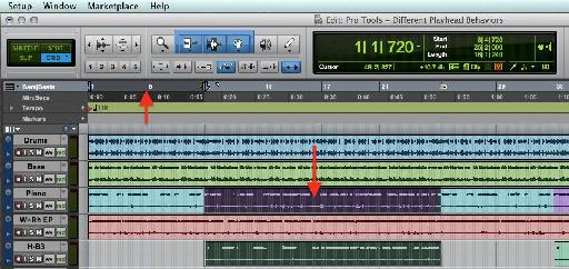 A Pro Tools Session with separate Edit and Playback selections.
