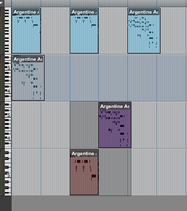 Multiple clips on multiple tracks selected.