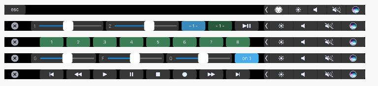 Some of the layouts available for MIDI Touchbar.