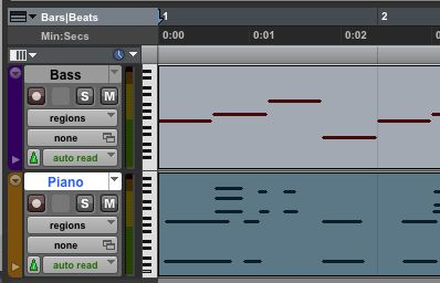 Regions view - the default view of MIDI tracks in Pro Tools