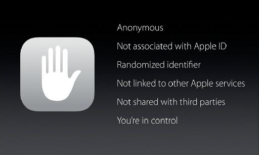 Apple's proud to announce how they don't track you, and send as little data as possible off your device.