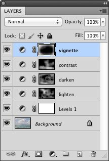layers panel with vignette added