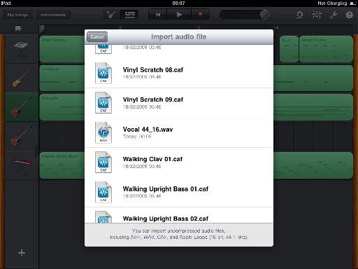 Importing an audio file that has been added to the iPad via iTunes on the Mac