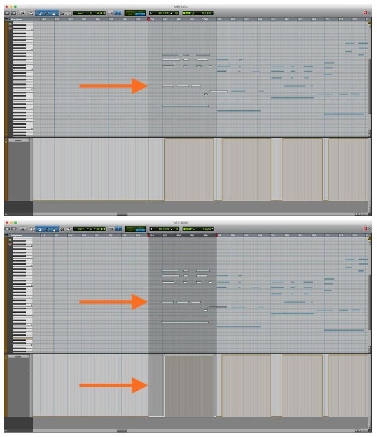 MIDI note data selected without Controller data (CC64 Sustain); the same selection including the CC data