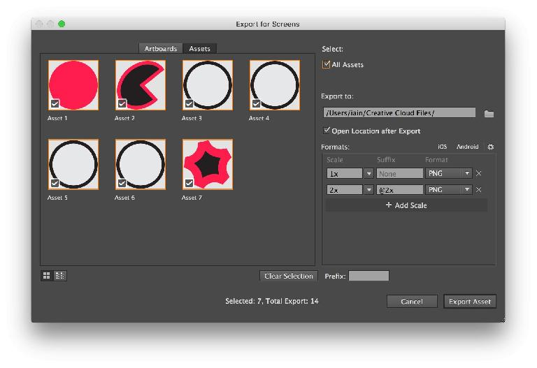 New export features let you export artboards or chosen assets to multiple resolutions and formats