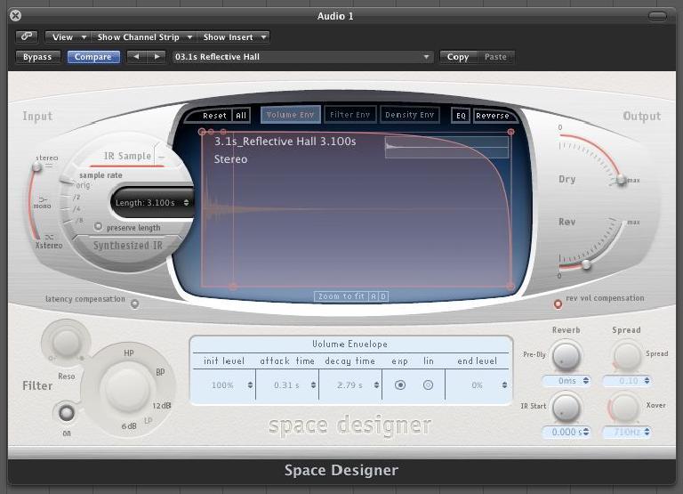 (Pic 2b) Logic's Space Designer remains a popular convolution based reverb effect.