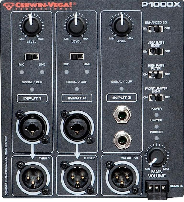 Fig 3 The P1000X's rear-panel mixer