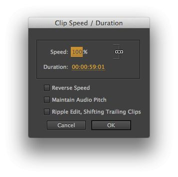 Speed/Duration settings