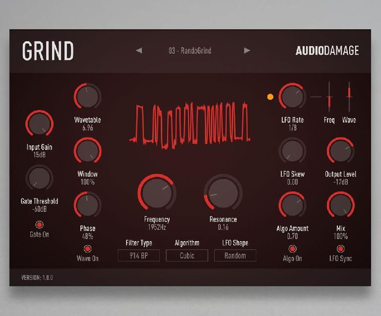 Audio Damage Grind interface.