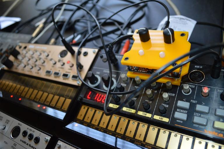 A Patchblock atop the Korg Volca range.