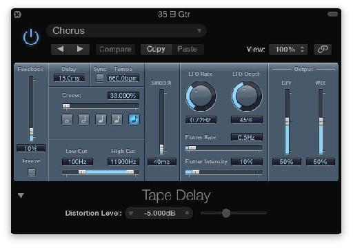 Fig 6 The Tape Delay plug-in—various options for simulating the character of tape-based delays include LFO Modulation, Flutter, and tape saturation (Distortion)
