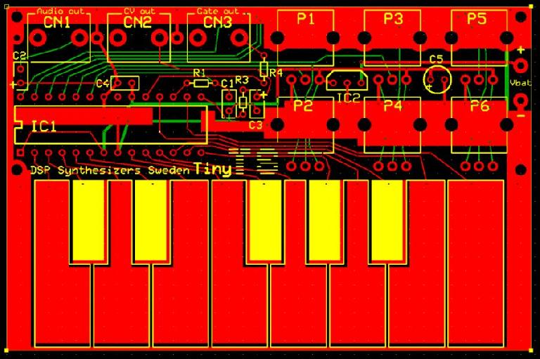 A mock-up of the Tiny TS synthesizer.