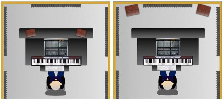 Fig 2 Free-standing placement (L) vs wall-placement (R) of studio monitors.