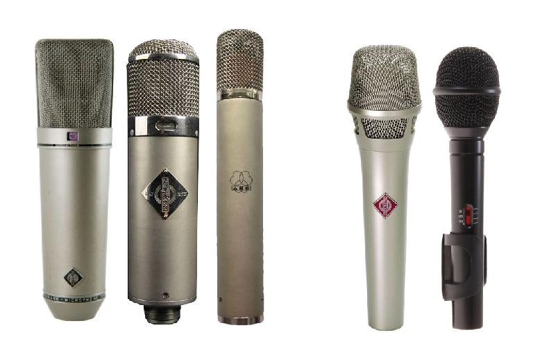 Fig 2 (L) Some (vintage) studio mics that would not be a wise choice for live recording on stage; (R) a couple of more suitable stage condensers