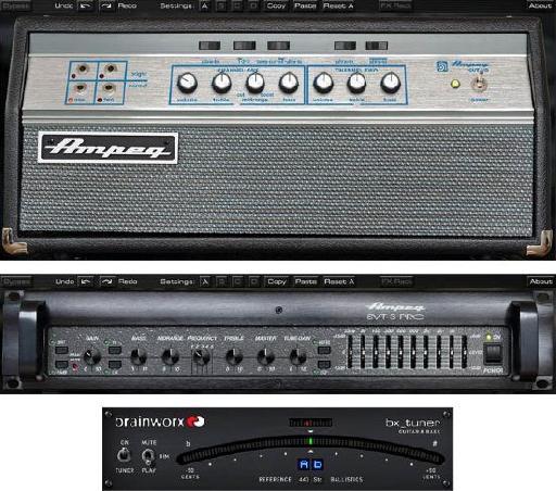 Brainworx Ampeg SVT-VR and SVT-3 Pro bass amplifier plug-ins.