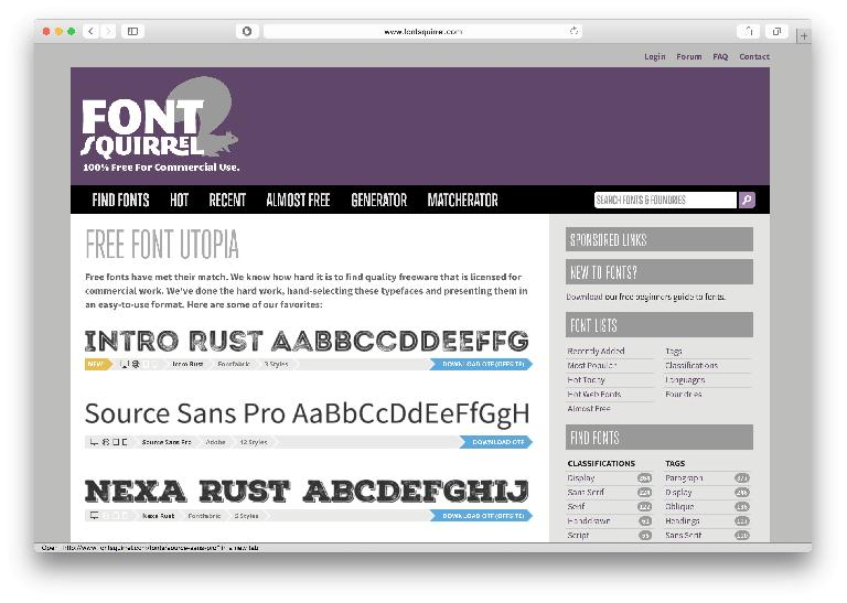 Font Squirrel has long-provided free web fonts.