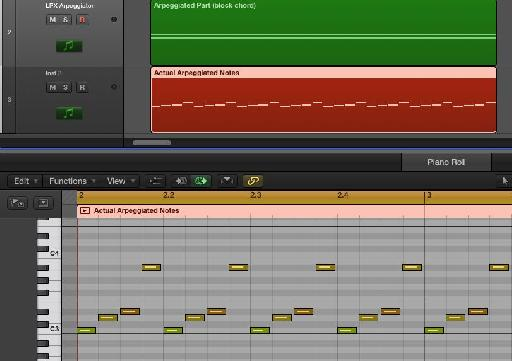 In green, a block chord being arpeggiated. In red, recording of the actual notes generated by the arpeggiator '