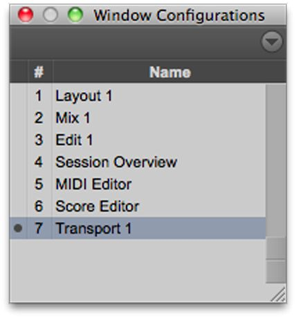The Window Configuration List
