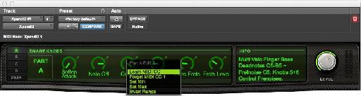 Fig. 6: MIDI CC messages can be assigned to 'Smart Knob' parameters via Pro Tools' MIDI Learn feature.