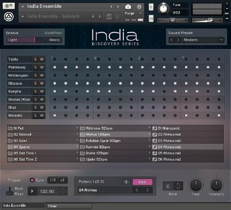INDIA: Ensemble pattern editing screen