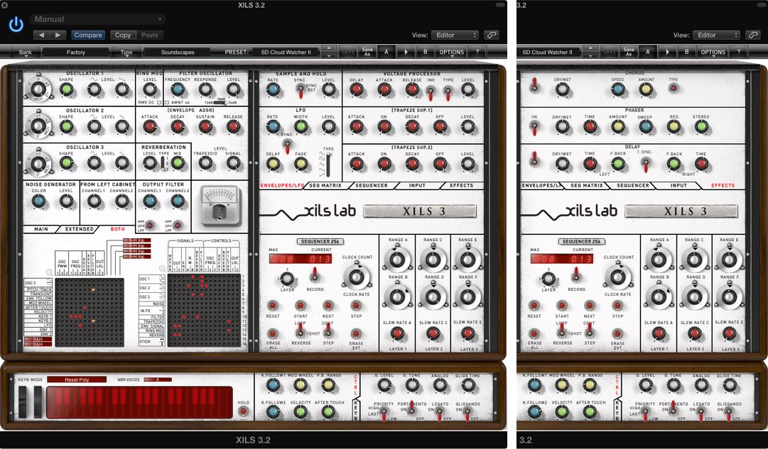 Pic 7 XILS 3.2's various right-side panels: the extra Envelopes & LFO, and Effects