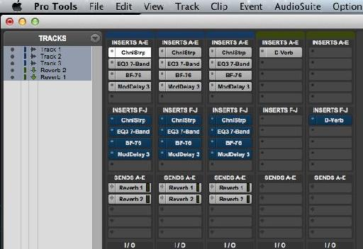 Using Shift-2 with all tracks selected. An effective use  of Shift-1 and Shift-2 can be used to great effect (if youll pardon the pun) is to compare two effects chains, one set up in Inserts A-E, the other in Inserts F-J.