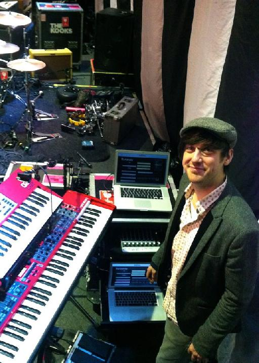 Thom Kirkpatrick from The Kooks with his MainStage rig.