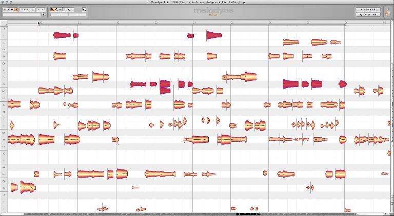 """Melodyne's DNA—Direct Note Access—polyphonic pitch processing feature in action (the red """"blobs"""")"""