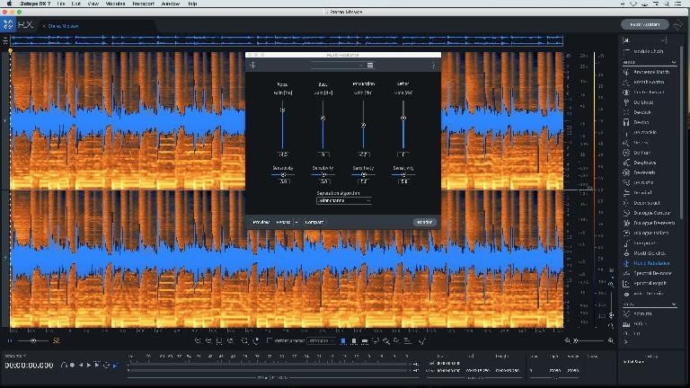 The Music Rebalance settings used in Audio example 4