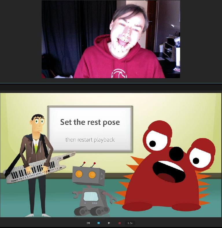"""This """"I am a red monster"""" screenshot from the introductory tutorial shows you how silly and fun the Character Animator can be; now, to find a use for it…"""