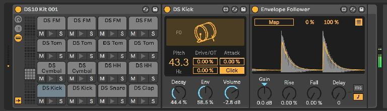 Envelope Follower on a DS Kick instance, directly on the Drum Rack Pad.