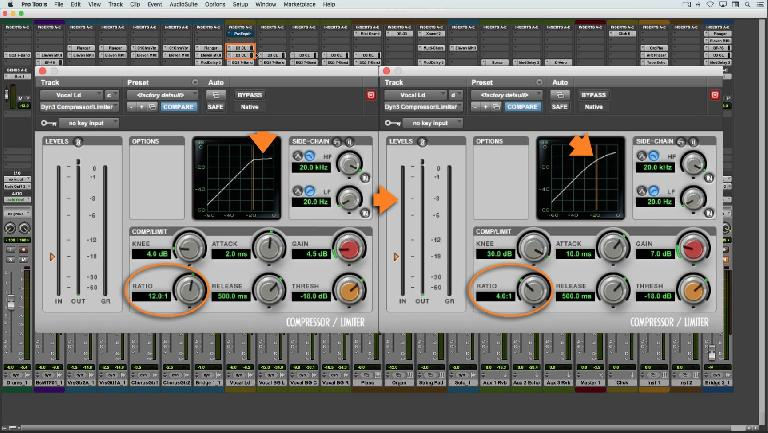A pair of compressors used to tame a vocal with widely-varying dynamics Audio Example 1 A highly dynamic vocal needed two compressors to tame its level swings without artifacts