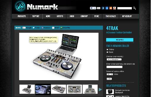 (Pic 3) A quick visit to the Numark site for the latest drivers revealed a very slick 4Trak mini-site.