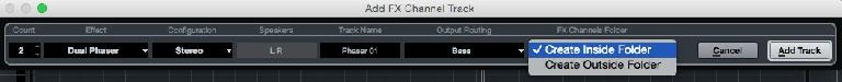 Figure 5. The Add Audio Track dialog box with Output Routing option.
