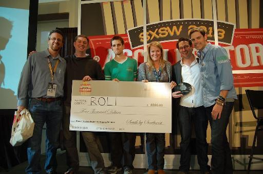 Roli receiving the SXSW 2013 Music Accelerator award.