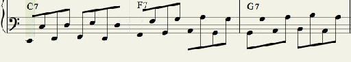 Bass Pattern 2:  Alternating Octave Swinging Eighth Notes.