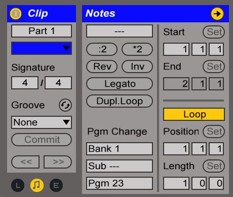 Two different MIDI Clips with different Program Change settings to trigger a different preset patch; you may have to do some homework to find the right patch ID numbers.