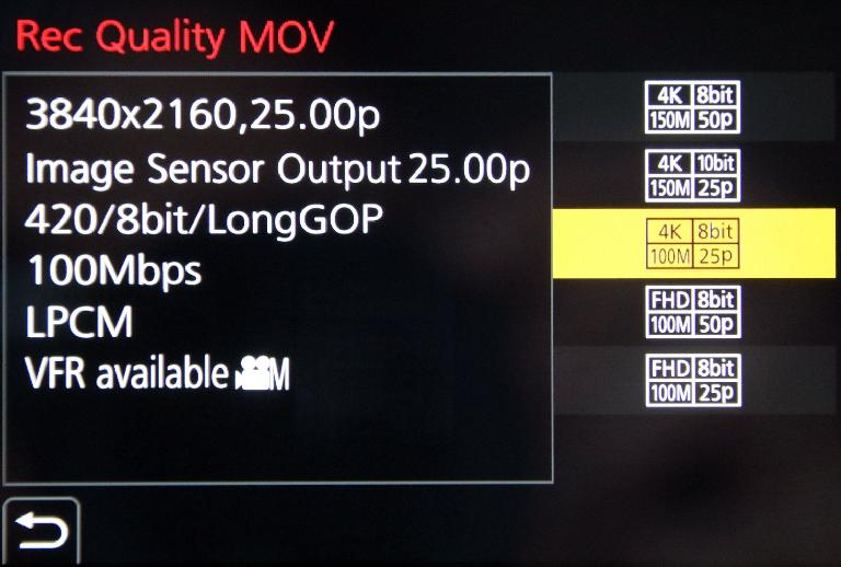 Set the container to MOV to access the widest range of options