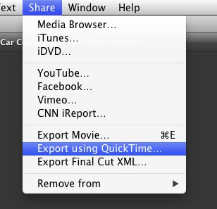 Choose Share>Export using QuickTime.