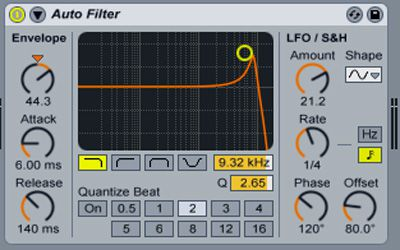 Ableton's Auto filter settings