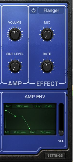 The Amp Envelope and the Effect sections.