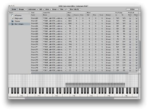 Create the sampler instrument in EXS24's Sample Instrument Editor