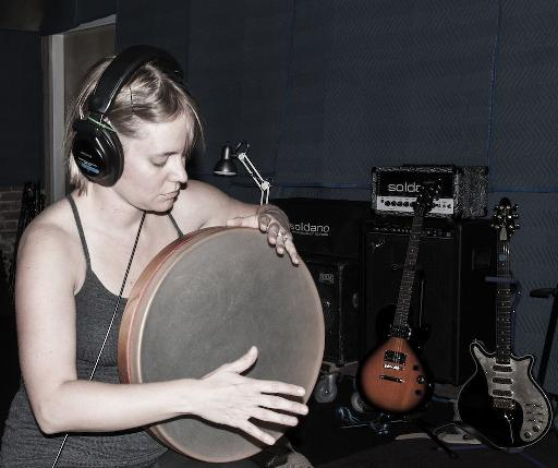 Lynda Drumming in the Studio