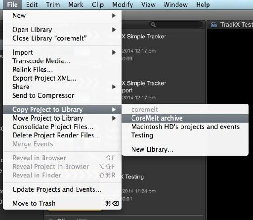 Copying just the project to a new library.