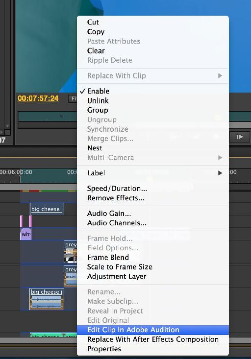 You can send multiple clips for detailed processing from Premiere to Audition without having to manually export them first.